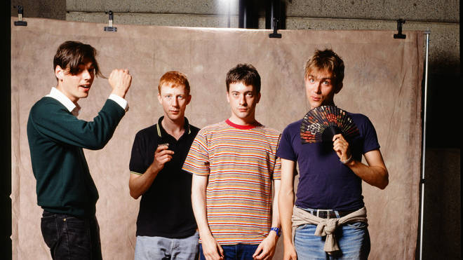 Blur group shot at a photo studio in Tokyo, November 1994.