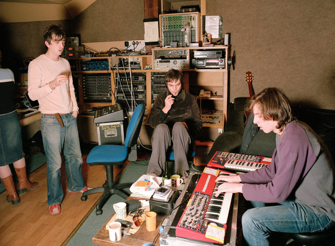 Supergrass recording at at Rockfield Studios in Wales, 2002.