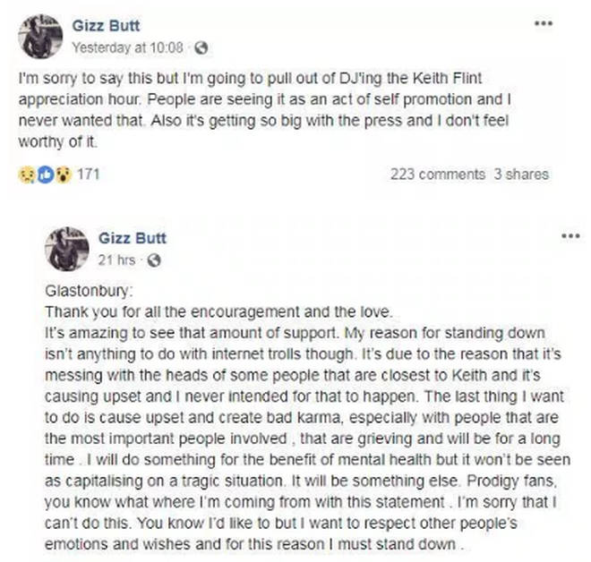 "Gizz Butt cancels Keith Flint Glastonbury tribute as he doesn&squot;t want to cause ""upset"""