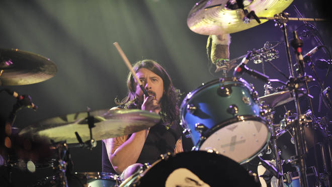 Dave Grohl on the drums in 2009 with Them Crooked Vultures