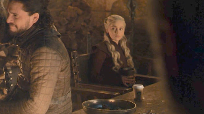 A screenshot of a scene in which a Starbucks coffee cup is mistakenly left in Game of Thrones