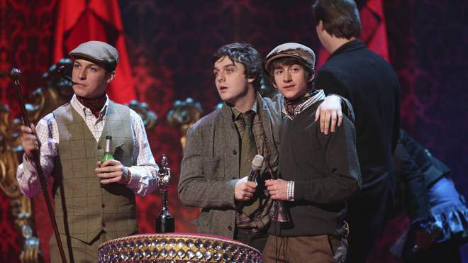 Arctic Monkeys Matt Helders, Nick O'Malley and Alex Turner at the BRIT Awards 2008
