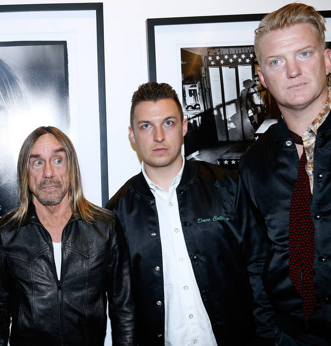 Iggy Pop, Matt Helders and Josh Homme attend the Post Depression Art Pictures Exhibition At French Paper Gallery In Paris