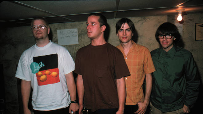 Patrick Wilson, Matt Sharp, Brian Bell and vocals/guitar Rivers Cuomo of Weezer pose for a portrait backstage in the basement of the 400 Bar in Minneapolis Minnesota in Septemeber 1994.