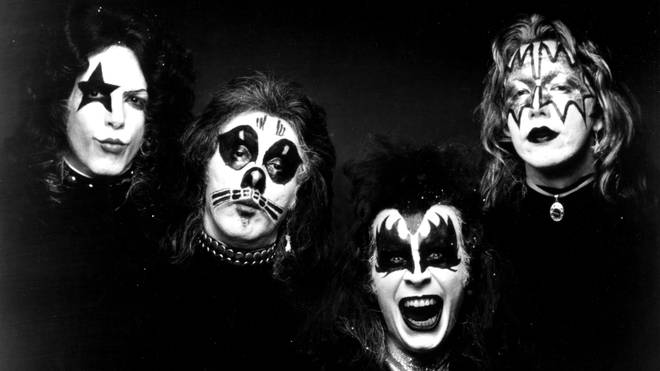 Paul Stanley, Peter Criss, Gene Simmons and Ace Frehley of the band Kiss pose for a portrait for the cover of their self-entitled first album Kiss in 1974.