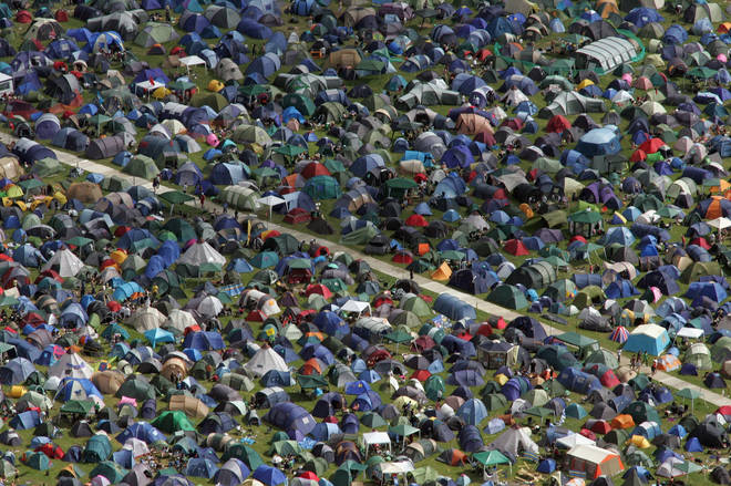 Glastonbury tents in 2008: ours is the blue one.