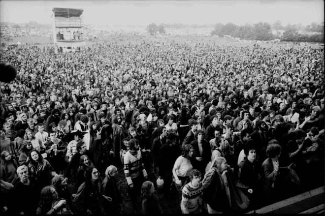 The crowd at Glastonbury festival on 18 June 1982