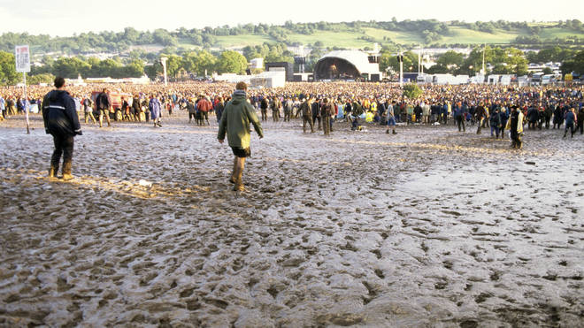 The gradually sinking Other Stage at Glastonbury 1997