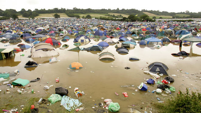 Friday morning at Glastonbury 2005, following flash floods the night before