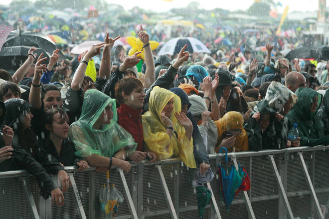 Rain at the Pyramid Stage, Glastonbury 2007