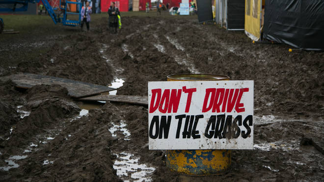 The very, very muddy site at Glastonbury festival, 2016