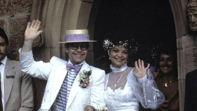 Elton John and his ex wife Renate Blauel on their wedding day on 14 February 1984