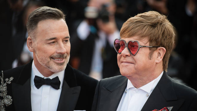 David Furnish and Elton John at the Rocketman premiere at the 72nd Cannes Film Festival
