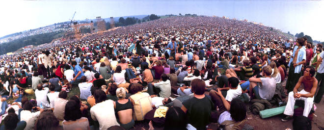 Wide-angle view of audience at Woodstock festival, 1969