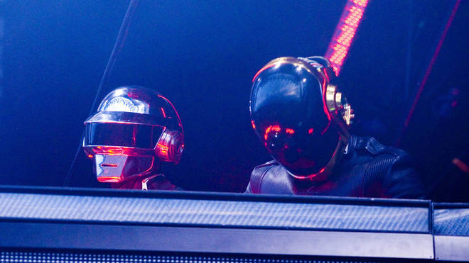 Daft Punk performing live on stage at the O2 Wireless Festival in Hyde Park, 2007