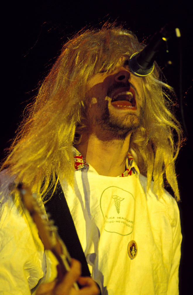 Kurt Cobain performing live on stage at Reading Festival, 1992