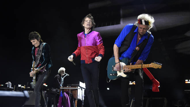 The Rolling Stones perform during Desert Trip at The Empire Polo Club on October 14, 2016 in Indio, California.