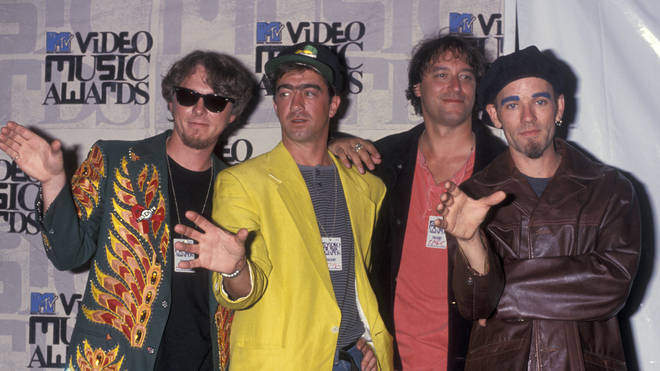 Mike Mills, Bill Berry, Peter Buck and Michael Stipe of R.E.M attend 10th Annual MTV Video Music Awards on September 2, 1993