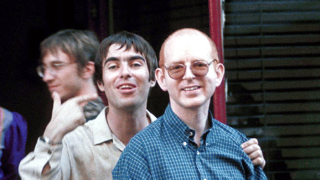 Liam Gallagher and Creations Boss Alan McGee in 1997