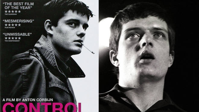 Control poster and Ian Curtis of Joy Division in 1980