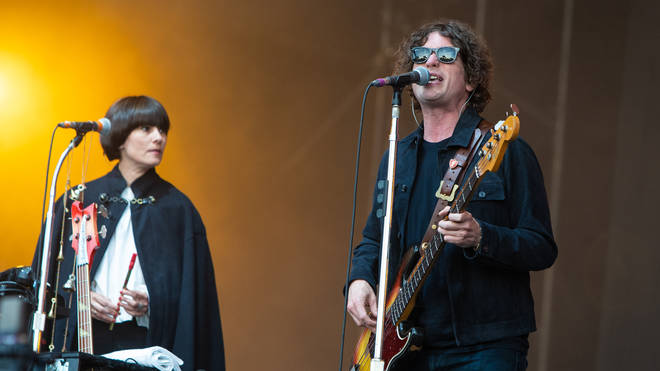 Charlotte Marionneau and Russell Pritchard of Noel Gallagher's High Flying Birds perform live on stage in 2018.