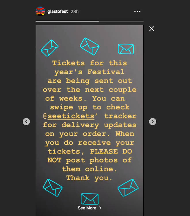 Glastonbury organisers warn festival-goers not to post photos of tickets online in Instagram Stories post
