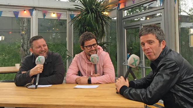 Matt Morgan, Gordon Smart and Noel Gallagher backstage at Heaton Park, June 2019