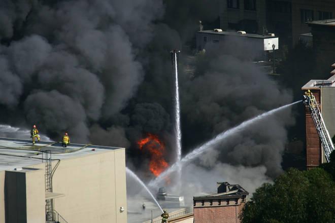 Firefighters Battle Blaze At Universal Studios, 1 June 2008