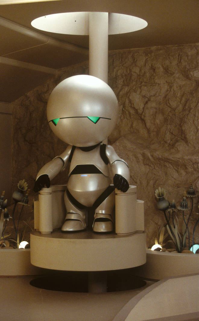 Marvin the Paranoid Android from the movie version of The Hitch Hiker's Guide To The Galaxy