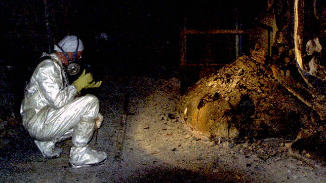 "Pictured in 1986, this is the infamous ""elephant&squot;s foot"" at Chernobyl, a lump of corium caused by the fire in the reactor: a few minutes near this object, would bring certain death. Today, it's still radioactive."
