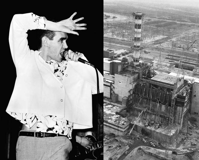 Morrissey onstage in 1985; the Chernobyl disaster in 1986