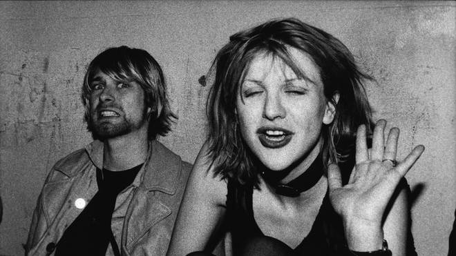 Late Nirvana frontman Kurt Cobain and Courtney Love in 1992