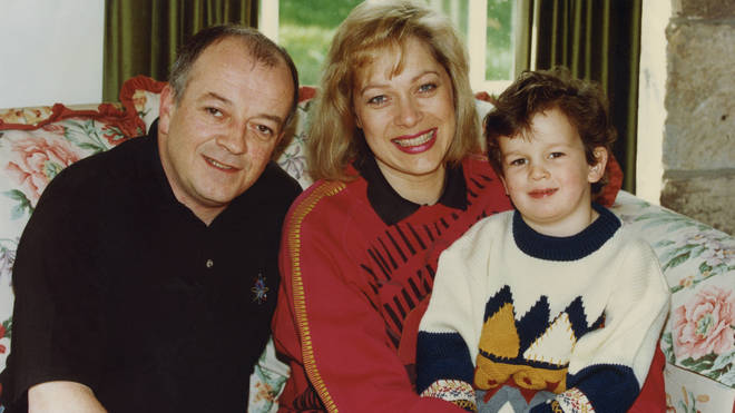 Denise Welch and husband Tim Healy pictured at home with their son Matthew in 1994