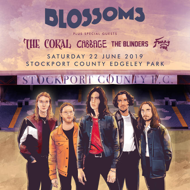 The poster for Blossoms' homecoming gig at Edgeley Park on Saturday 22 June