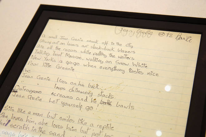 David Bowie's handwritten Jean Genie lyrics