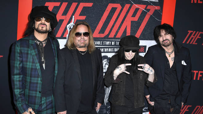 Nikki Sixx, Vince Neil, Mick Mars and Tommy Lee of Mötley Crüe arrive at the Premiere Of Netflix's The Dirt