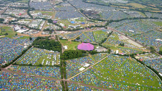 The Glastonbury site seen from the air in 2017