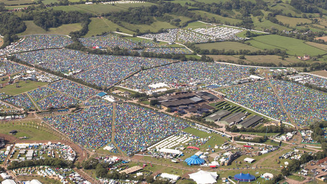 An aerial view of the camping site on the second day of the Glastonbury Festival at Worthy Farm in Somerset.