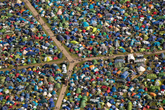 An aerial view of the camping site on the second day of the Glastonbury Festival at Worthy Farm in Somerset, 27 June 2019