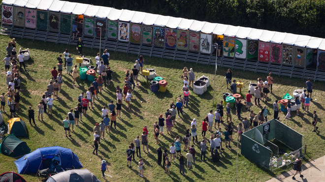 An aerial view of festival goers queuing for the toilets on the second day of the Glastonbury…