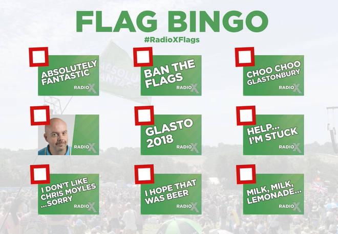 The Chris Moyles Show Glastonbury flags