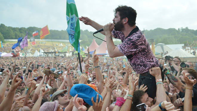 Foals performing at The Park Stage, Glastonbury 2019
