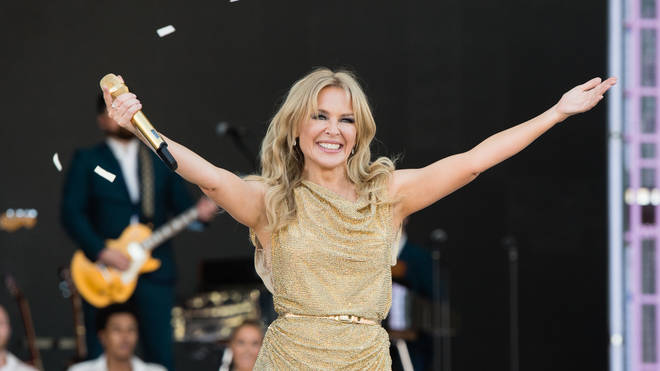 Kylie Minogue performs on the Pyramid Stage on day five of Glastonbury 2019