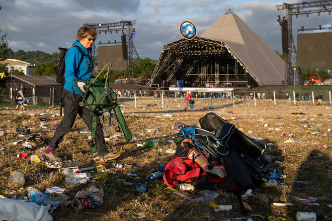 Clean up begins at the Glastonbury Festival at Worthy Farm in Somerset