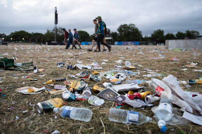 Rubbish left behind at the Glastonbury Festival at Worthy Farm in Somerset.