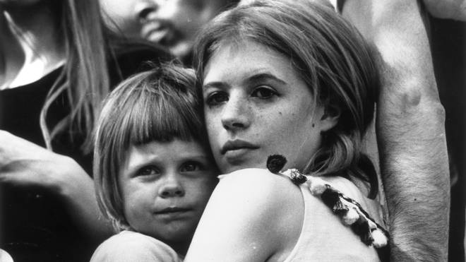 Marianne Faithfull and her young son Nicholas attend a Rolling Stones concert in London's Hyde Park.