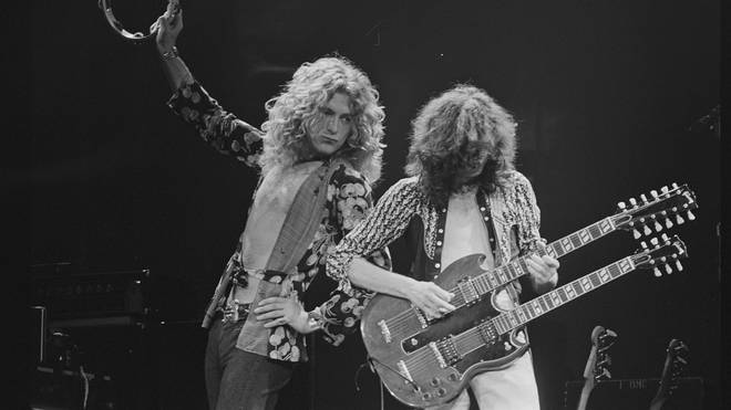 Robert Plant and Jimmy Page of Led Zeppelin playing live