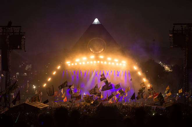 The Killers perform on stage at Glastonbury Festival's Pyramid Stage