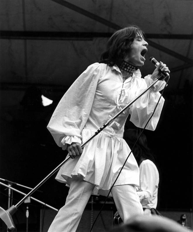 Mick Jagger performing live onstage at free Hyde Park Concert in 1969