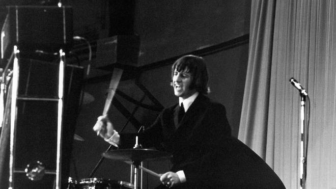 Ringo Starr of The Beatles on stage at the Palais des Sport in Paris. June 1964.